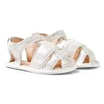 Easy Peasy White Shimmer Nonno Velcro Leather Sandals 245
