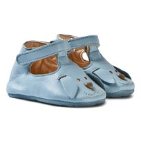 Easy Peasy Blue Loulou Bear Face Crib Shoes 051