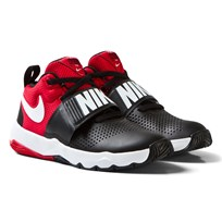 NIKE Black and Red Team Hustle Junior Trainers BLACK/WHITE-UNIVERSITY RED
