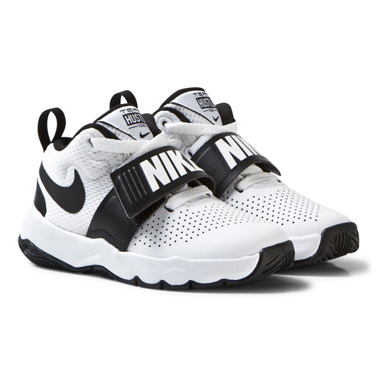 NIKE White and Black Team Hustle Kids Trainers White/Black