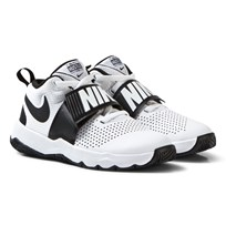 NIKE White and Black Team Hustle Junior Trainers White/Black