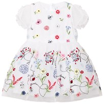 Simonetta White Embroidered Flower Tulle Dress GF490 100MC
