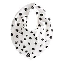 Kids Concept Neo - White/Black Cotton Jersey Pebble Print Dribble Bib Svart/Vit