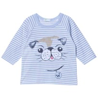 United Colors of Benetton Blue/White Striped Long Sleeve T-Shirt with Dog Blue