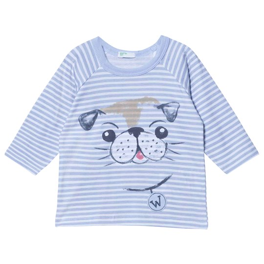 United Colors of Benetton Blue/White Striped Longsleeved T-Shirt With Dog Blue