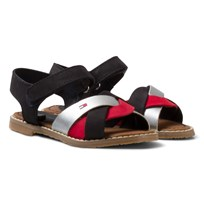 Tommy Hilfiger Red White and Black Leather Sandal RWB