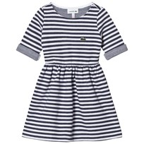 Lacoste Navy and White Jersey Branded Dress E87