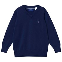 Gant Navy Branded V Neck Cotton Jumper 433
