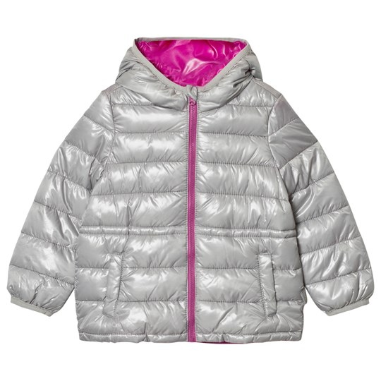United Colors of Benetton Grey Puffer Jacket with Purple Zipper Black