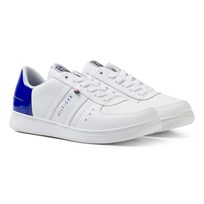Tommy Hilfiger Leather Mix Sneakers White/Surf The Web Blå WHITE-SURF THE WEB