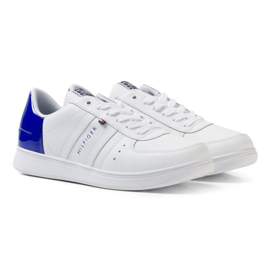 Tommy Hilfiger Leather Mix Sneakers White/Surf The Web Blue WHITE-SURF THE WEB
