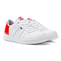 Tommy Hilfiger Leather Mix Sneakers White/Tomato Red WHITE-TOMATO