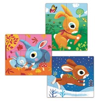 Djeco Rabbit Pussel 3-Pack Multi