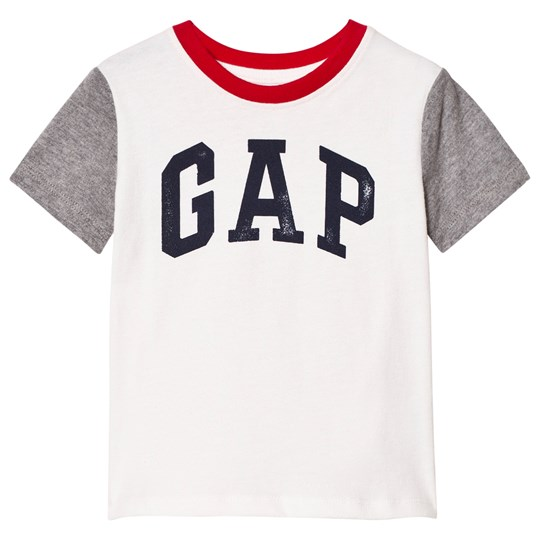GAP Logo Colorblock Short Sleeve Tee New Off White NEW OFF WHITE