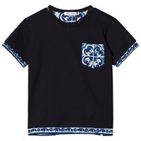 Dolce & Gabbana Printed Cotton Tee Navy HB062
