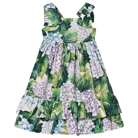 Dolce & Gabbana Printed Cotton Dress with Bow Detail HAC61