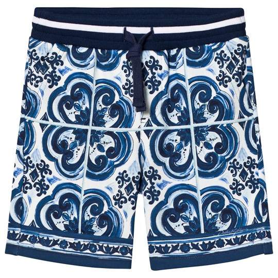 Dolce & Gabbana Sweat Shorts in Printed Cotton Blue HB062