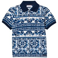 Dolce & Gabbana Polo in Printed Cotton Pique Blue HB062