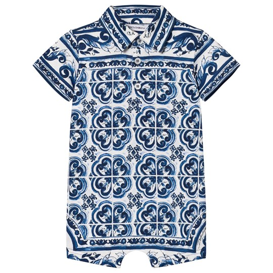 Dolce & Gabbana Romper in Printed Cotton Jersey Blue HB062