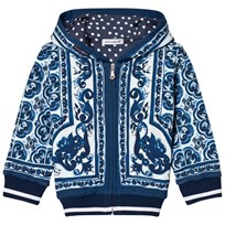 Dolce & Gabbana Hoodie in Printed Cotton Blue HB062