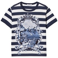 Dolce & Gabbana Printed Cotton Tee Blue HB581