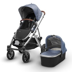 UPPAbaby VISTA Stroller Henry (Blue Marl) - Silver Frame With Leather