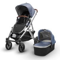 UPPAbaby VISTA Stroller Henry (Blue Marl) - Silver Frame With Leather Серебряный