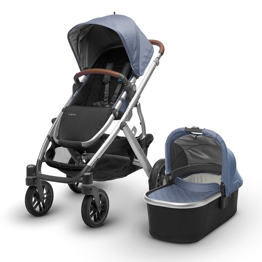 UPPAbaby VISTA Stroller Henry (Blue Marl) - Silver Frame With Leather Silver