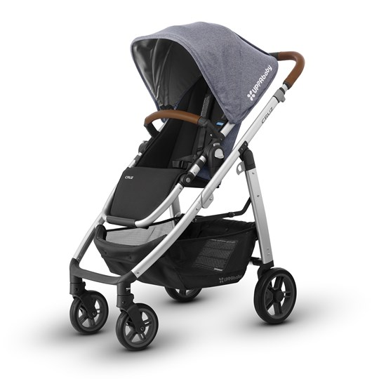 UPPAbaby CRUZ Stroller Gregory (Blue Marl) - Silver Frame With Leather Silver