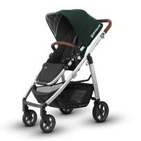 UPPAbaby CRUZ Stroller Austin (Hunter Green) - Silver Frame With Leather Hopea