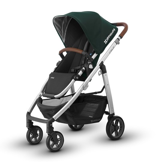 UPPAbaby CRUZ Stroller Austin (Hunter Green) - Silver Frame With Leather Silver