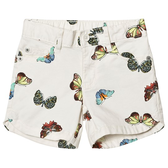 GAP Twill Midi Shorts White With Butterfly WHITE WITH BUTTERFLY