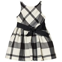 Ralph Lauren Plaid Fit-and-Flare Dress White/Black XW1TS