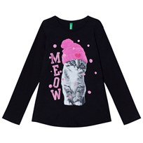 United Colors of Benetton Black Long Sleeve T-Shirt Cat Black
