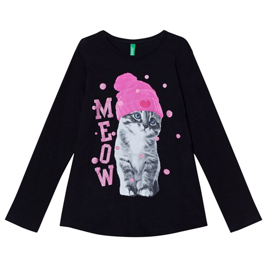 United Colors of Benetton Black Longsleeved T-Shirt With Cat Black