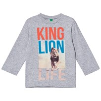 United Colors of Benetton Light Grey Long Sleeve T-Shirt Lion Black