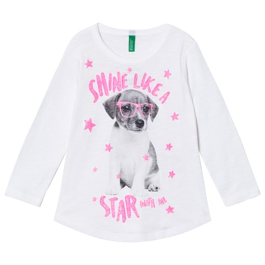 United Colors of Benetton White Long Sleeve T-Shirt Dog White