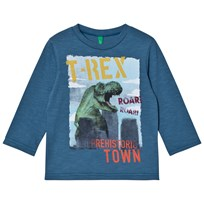 United Colors of Benetton Blue Long Sleeve T-Shirt Dinosaurs Blue