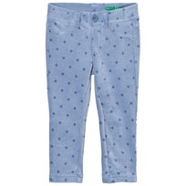 United Colors of Benetton Lightblue Trousers Flowers Blue