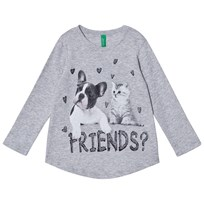 United Colors of Benetton Light Grey Long Sleeve T-Shirt Dog Cat Black