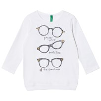 United Colors of Benetton White Long Sleeve T-Shirt Glasses White