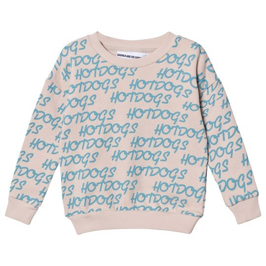 Gardner and the gang The Classic Sweatshirt Hotdogs Print Turqoise Beige