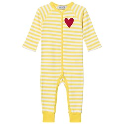 Anïve For The Minors Baby Jumpsuit Happy Yellow/White Stripes