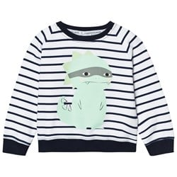 Scamp & Dude Chilled Fit Sweatshirt – Navy/White Breton Dino