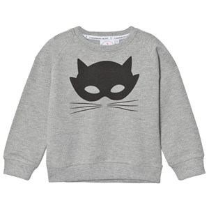 Image of Scamp & Dude Chilled Fit Sweatshirt – Grey Marl Cat Mask 1-2 years (3031526683)