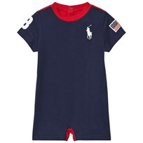 Ralph Lauren Navy Jersey Big Pony and USA Applique Romper 001