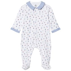 Petit Bateau Footed Baby Body White/Blue/Multicolor