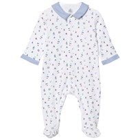 Petit Bateau Footed Baby Body White/Blue/Multicolor ECUME/DELFT/MULTICO