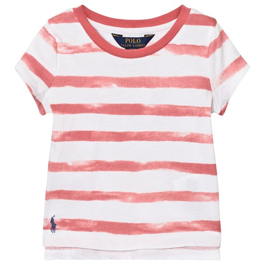 Ralph Lauren Pink and White Stripe Branded Tee 003