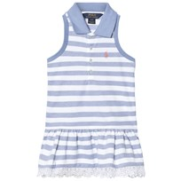 Ralph Lauren Blue and White Sleeveless Pique Dress with Broderie Hem 002